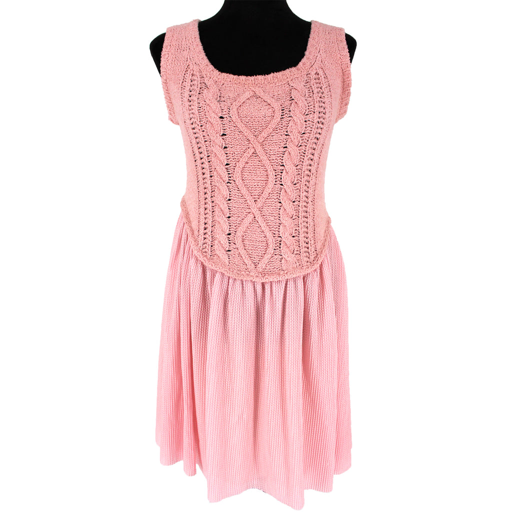 NWT Boutique Moschino Pink Cable Knit Dress Size 6
