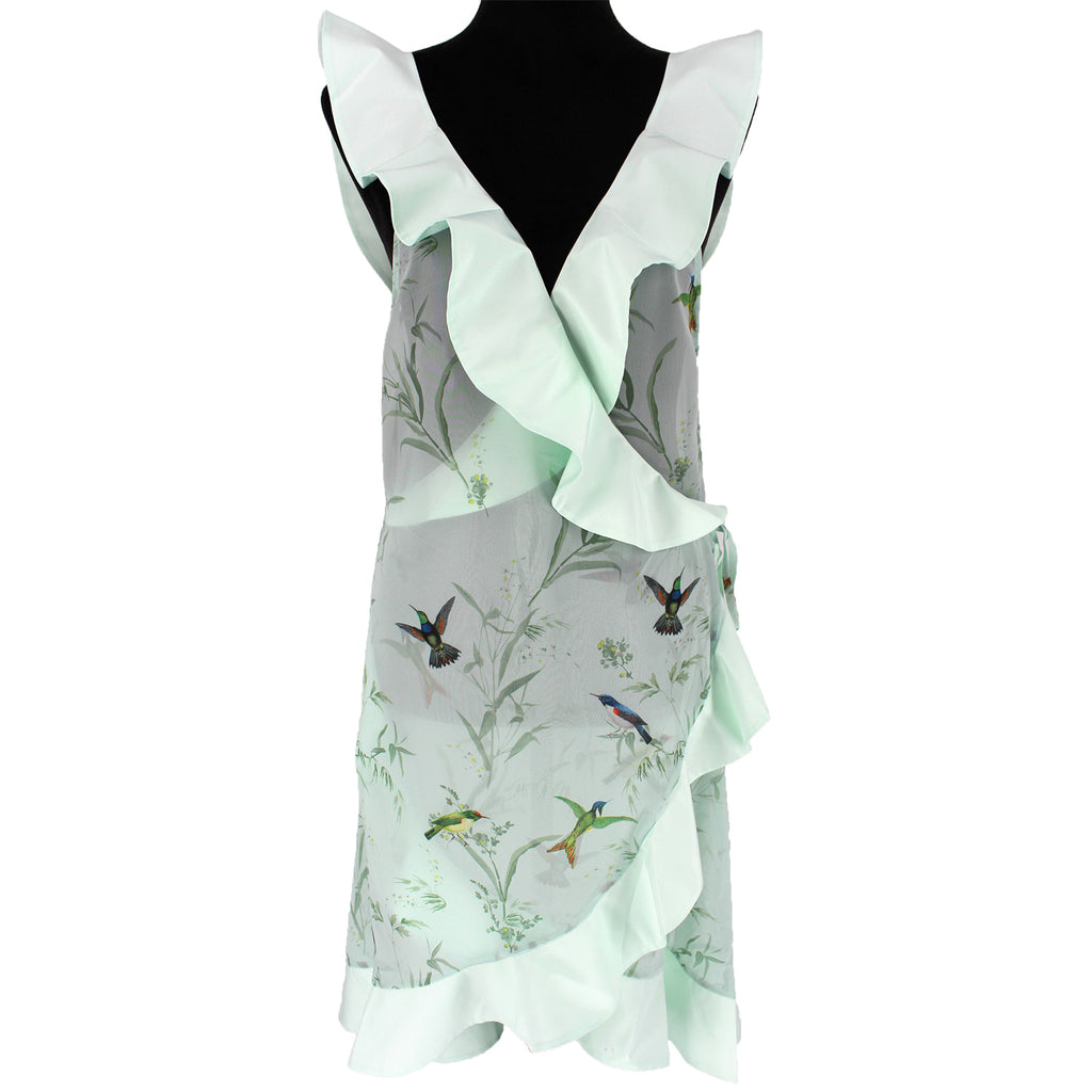 NWT Ted Baker Fortune Ruffle Wrap Cover Up Dress Birds Size M