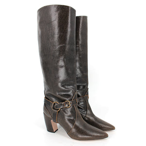 Miu Miu Crackle Leather Knee High Boots