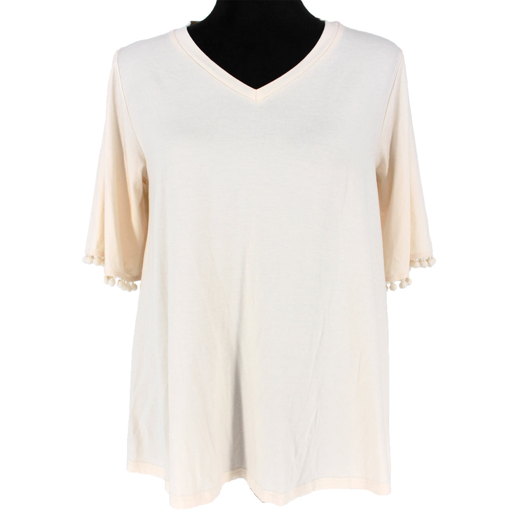 NWT Johnny Was Calmé Creme Elbow Tee Pom Pom Trim Size S