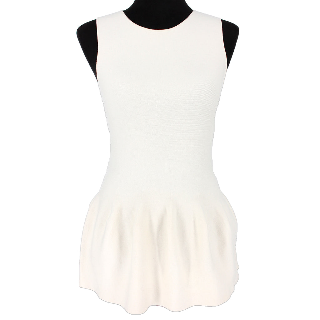NWT Theory Shaped Peplum Shell Ivory Chesire Knit