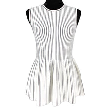 Load image into Gallery viewer, Theory Sleeveless Peplum Shell Tank Striped