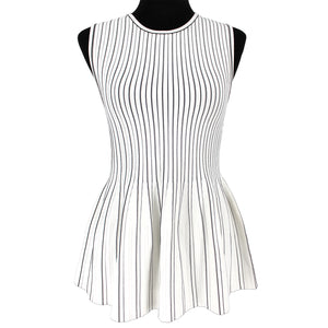 Theory Sleeveless Peplum Shell Tank Striped
