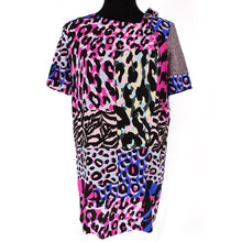 Load image into Gallery viewer, Versace Multicolor Silk Animal Print T-Shirt Dress Size 40