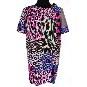 Versace Multicolor Silk Animal Print T-Shirt Dress Size 40