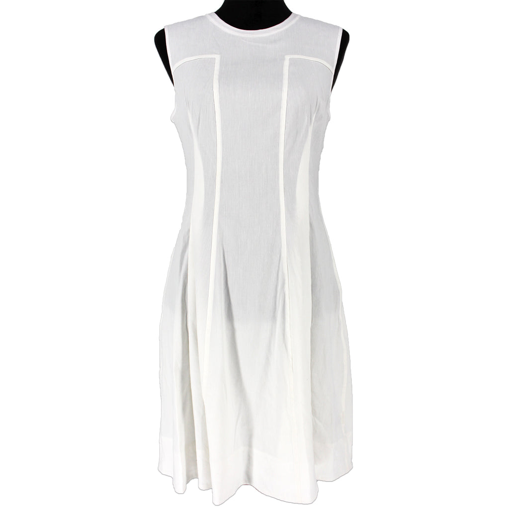 Theory Modern Tea Organic Crunch White Linen Sleeveless Dress