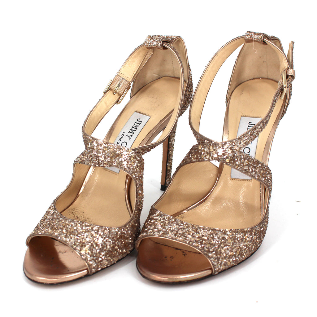 Jimmy Choo Emily Coarse Glitter Sandals