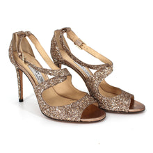 Load image into Gallery viewer, Jimmy Choo Emily Coarse Glitter Sandals (Gold) Size 6.5
