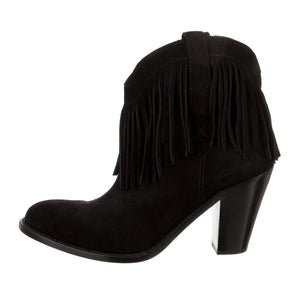 Saint Laurent Suede Fringe Ankle Boots