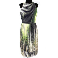 Load image into Gallery viewer, NWT Tamara Mellon Lambskin Fringe Dress Green Size 8