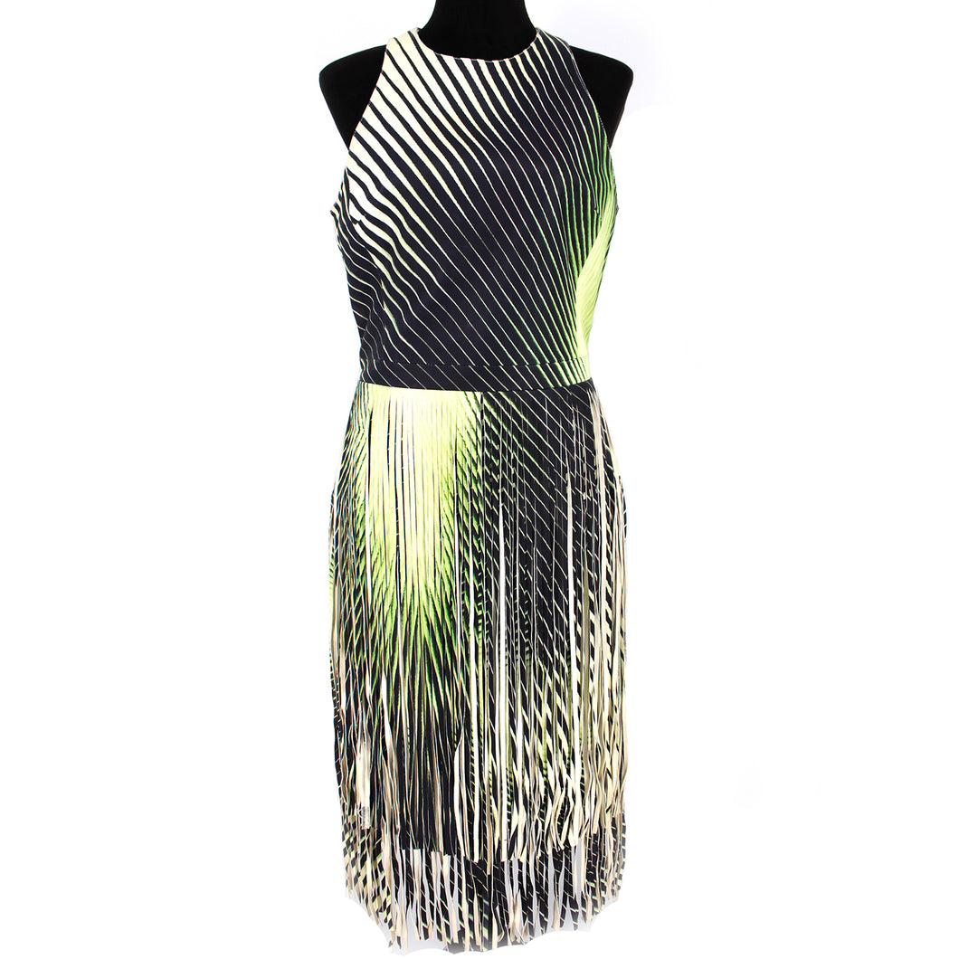 NWT Tamara Mellon Lambskin Fringe Dress Green Size 8
