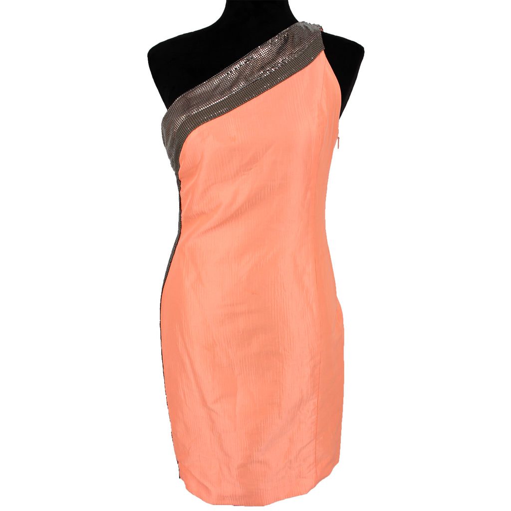 Versace One Shoulder Metal Embellished Dress Orange 44