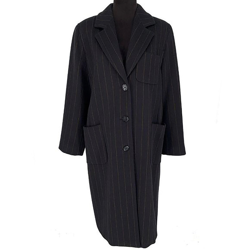 MaxMara Wool Striped Long Coat