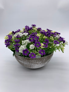 Planter with Purple Flowers