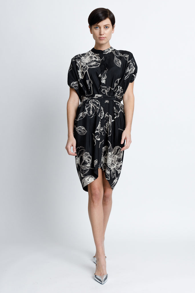 Figure Flattering Button Down Dress - Black Floral