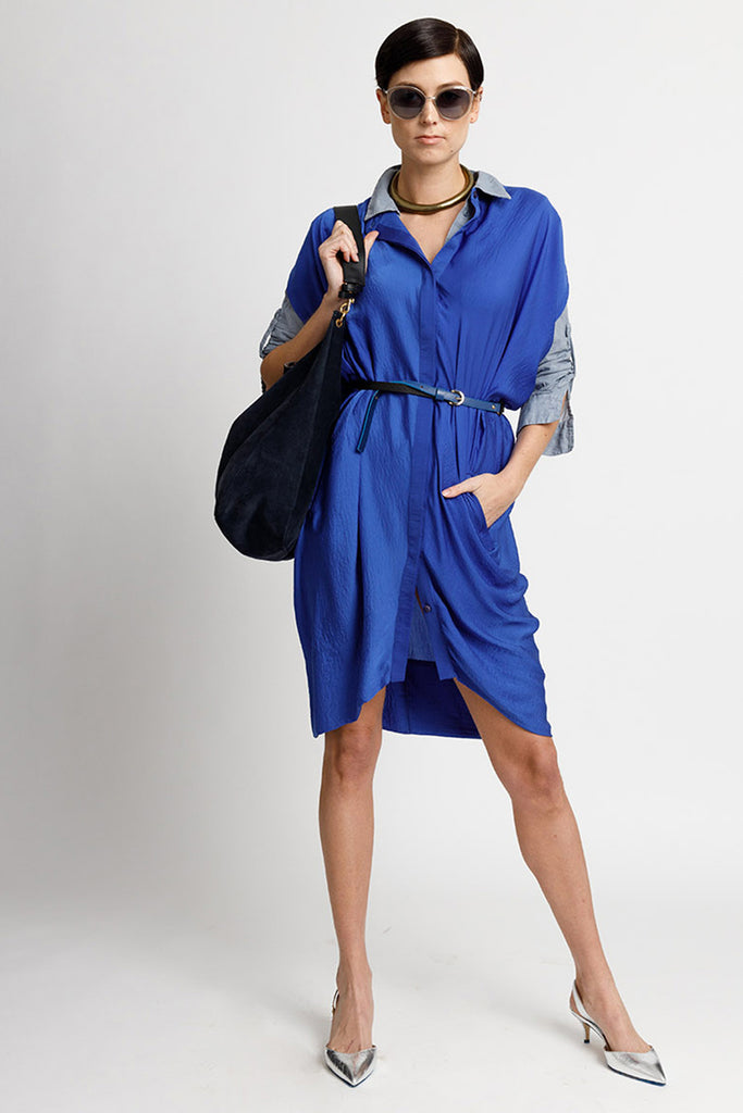 FORMERLY YAN Figure Flattering Button Down Shirt Dress with Cap Sleeves and Self Tie. Knee Length. Cobalt. Adjustable to Wear During and After Pregnancy. Nursing Friendly