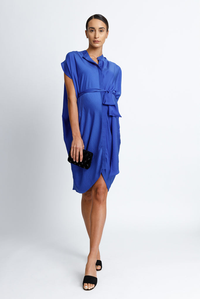 FORMERLY YAN Maternity Figure Flattering Button Down Shirt Dress with Cap Sleeves and Self Tie. Knee Length. Cobalt. Adjustable to Wear During and After Pregnancy. Nursing Friendly