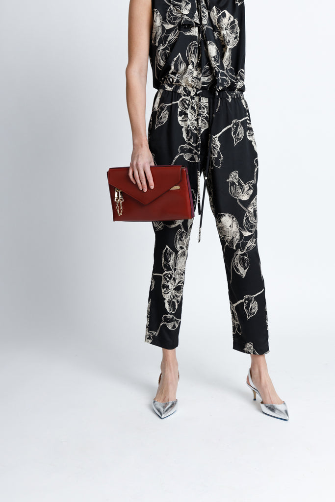 FORMERLY YAN Jogger Style Trouser Pants in Black Floral with Adjustable Drawstring and Silver Toggles. Tapered Ankle. Relaxed Fit.