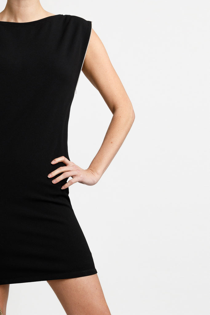 FORMERLY YAN Transformational Little Black Dress with Side Zippers. Sleeveless. Crewneck. Two Way Opening Zippers