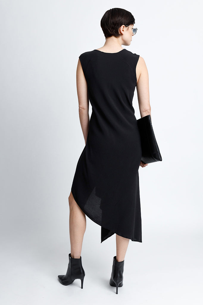 Sleeveless V-Neck Midi Snap Dress With Asymmetrical Hem in Black Crepe Back Satin Convertible to Wear During Pregnancy