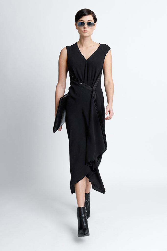 Sleeveless V-Neck Midi Snap Dress With Asymmetrical Hem in Black Crepe Back Satin Convertible to Wear During Pregnancy or For Casual Vacation Style
