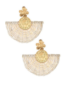 BERAWA RATTAN FAN EARRINGS
