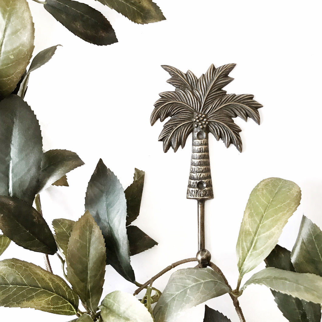 ANTIQUE BRASS PALM TREE HOOK WITH COCONUTS