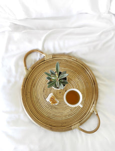 Natural Rattan Tray with Handles - Oval or Round