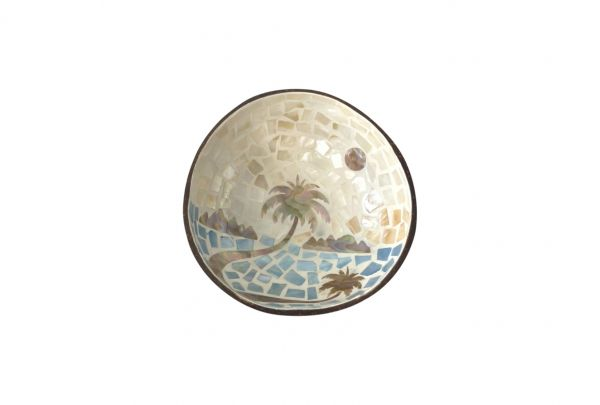 COCONUT SHELL WITH MOTHER OF PEARL PALM TREE INLAY