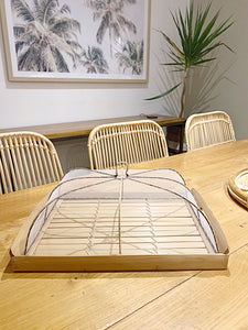 BAMBOO TRAY WITH MESH FOOD COVER