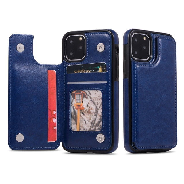 Magnetic Luxury Leather Wallet Case For IPhone