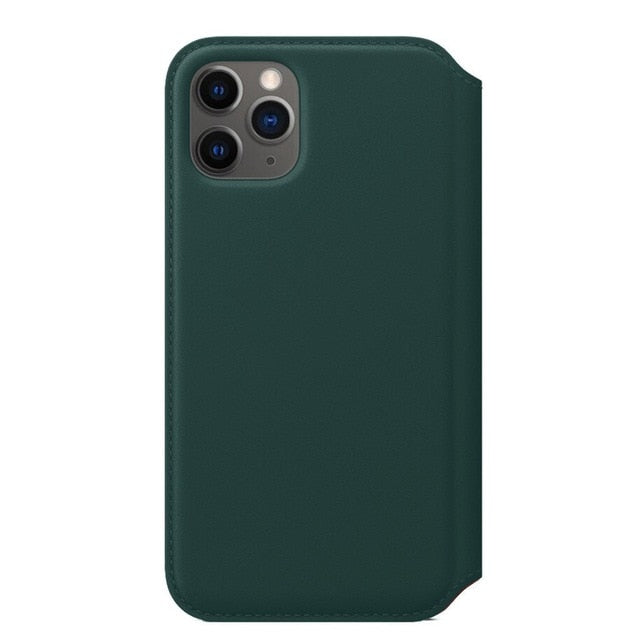Ultra-Thin Leather Case Cover Midnight Color For IPhone