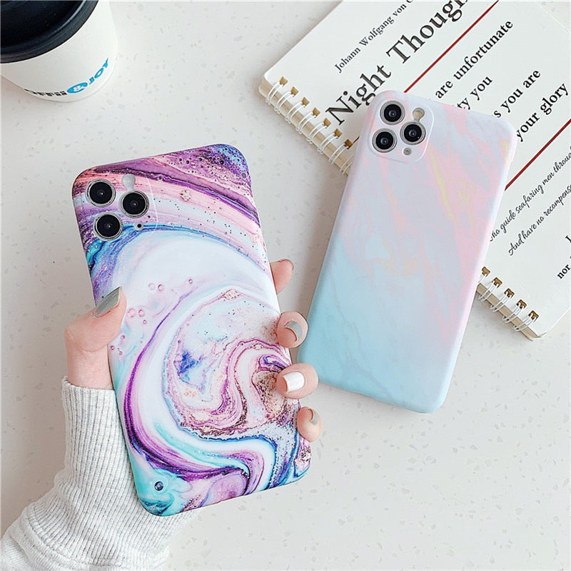 Matte Marble Texture Stone Case For iPhone