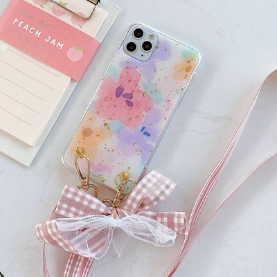 Fashion Cross Shoulder Strap Glitter Case Plus Bow Necklace Soft Cover