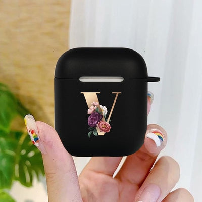 Cute Floral Gold Initial Letter AirPod Case