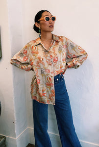 Vintage Ferragamo Birds of Paradise silk Shirt