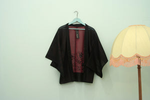 Vintage sheer black & red embroidered haori kimono