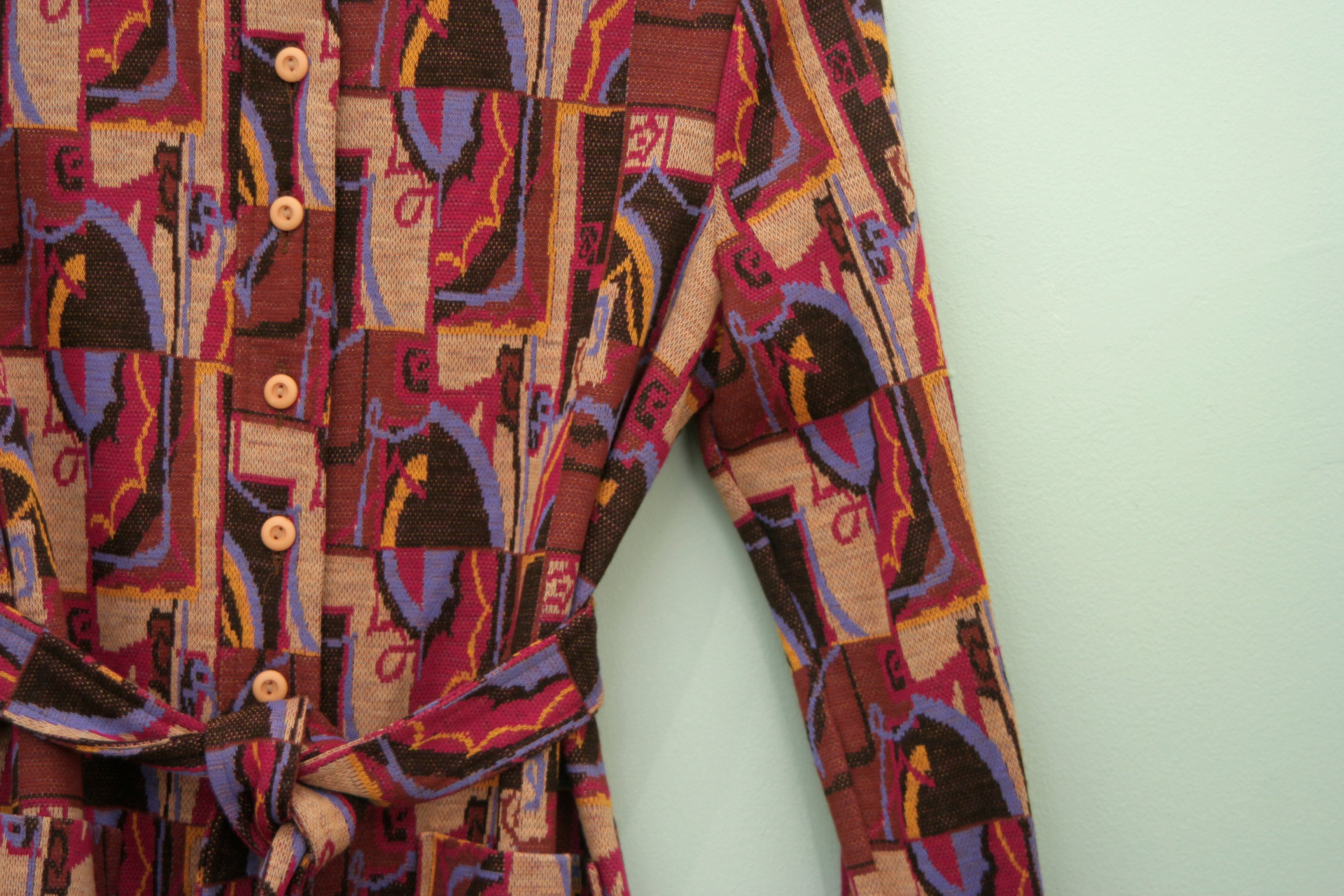 Vintage technicolour delta jacket with matching tie