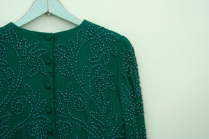 Vintage 80s/90s Emerald Pearls top