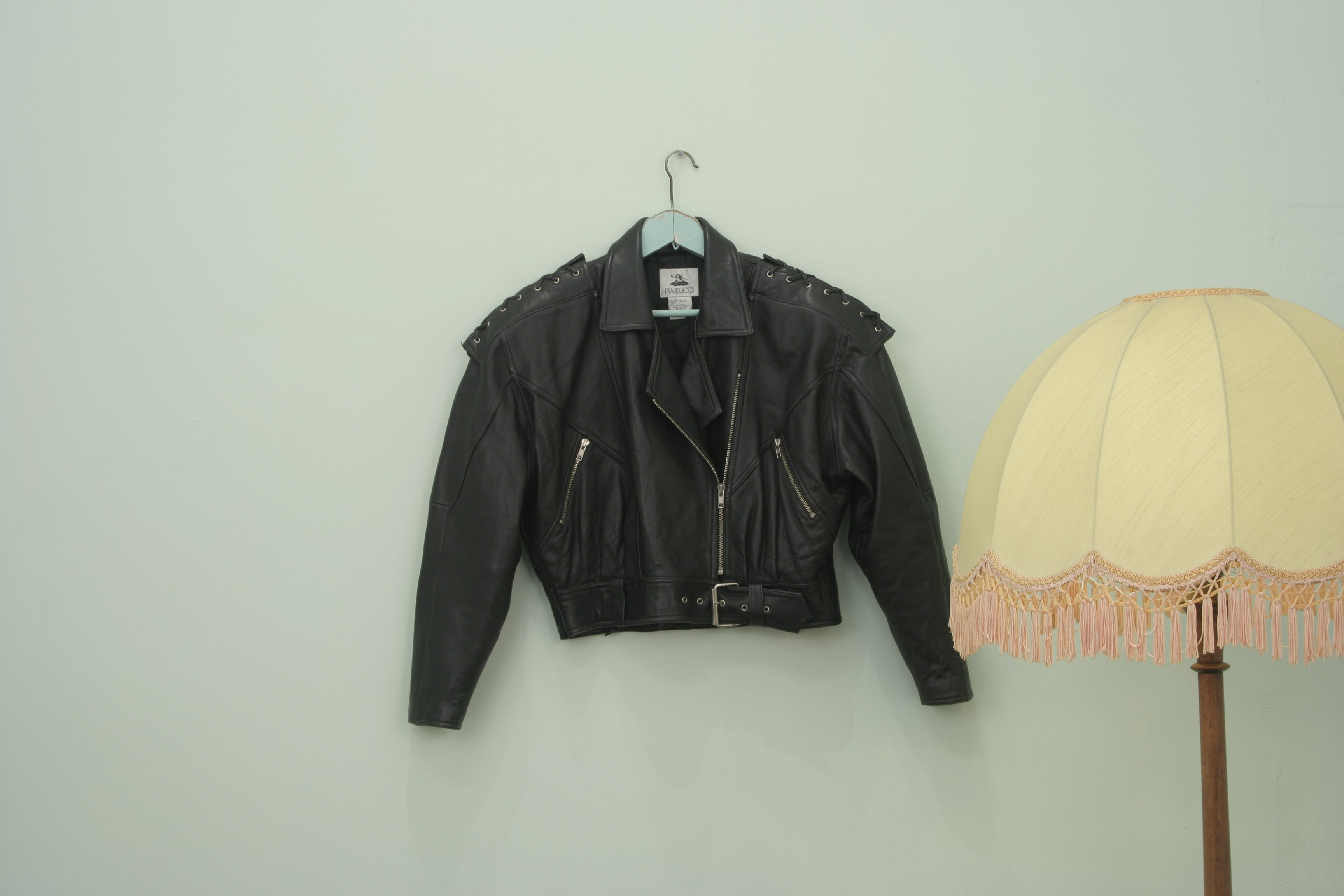 Incredible Vintage Pia Rucci Laced up leather biker