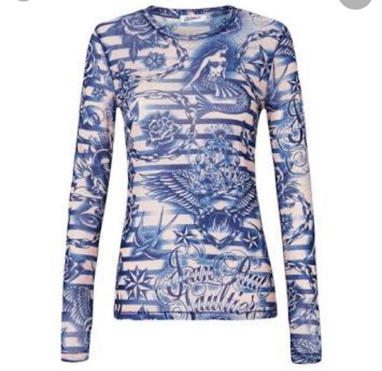 V Preloved Jean Paul Gaultier for Target Mesh tattoo top S