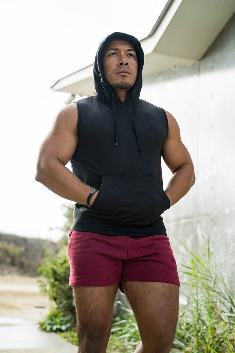 Mens Sleeveless Hoodie With Front Pockets