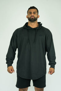 Mens Bodybuilding Oversized Full Sleeves Side Zip Hooded Shirt - KARDIOMATTERS