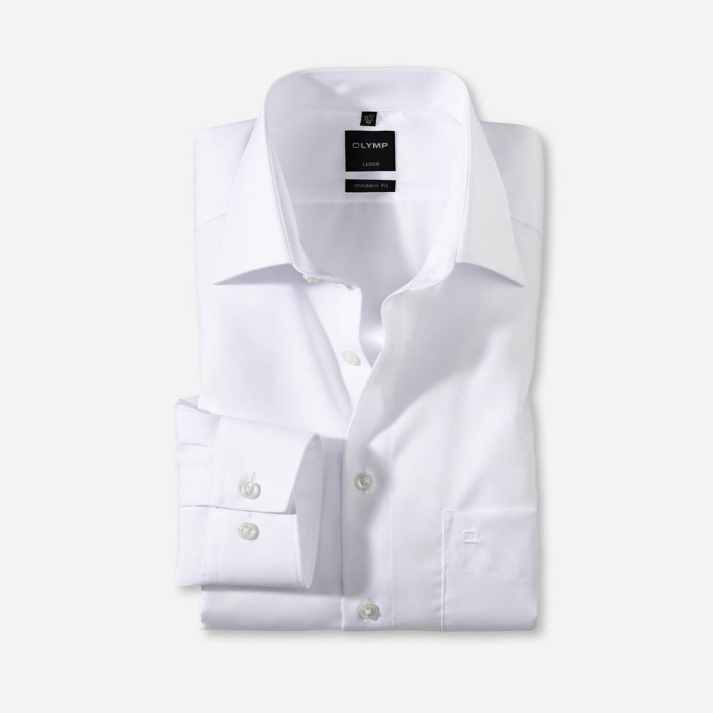 Olymp Modern Fit White Dress Shirt - Bernard Owens
