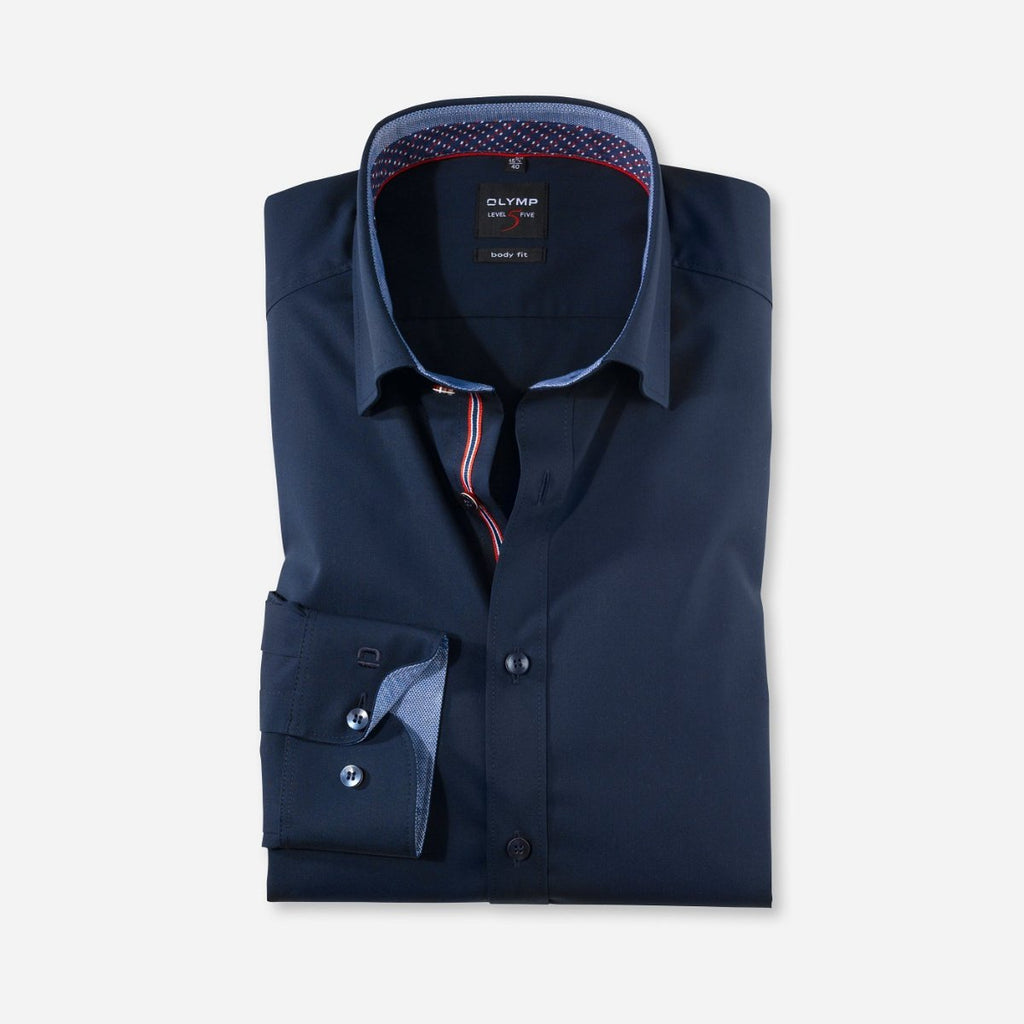 Olymp Body Fit Shirt in Navy - Bernard Owens