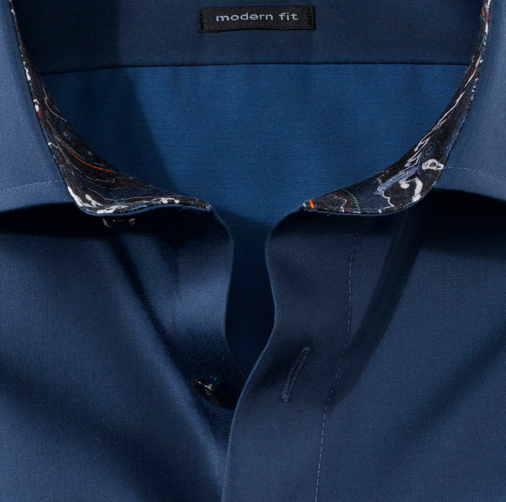 Olymp Modern Fit Shirt in Navy - Bernard Owens