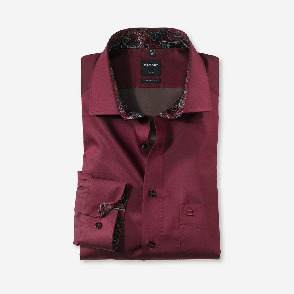 Olymp Modern Fit Shirt in Burgundy - Bernard Owens