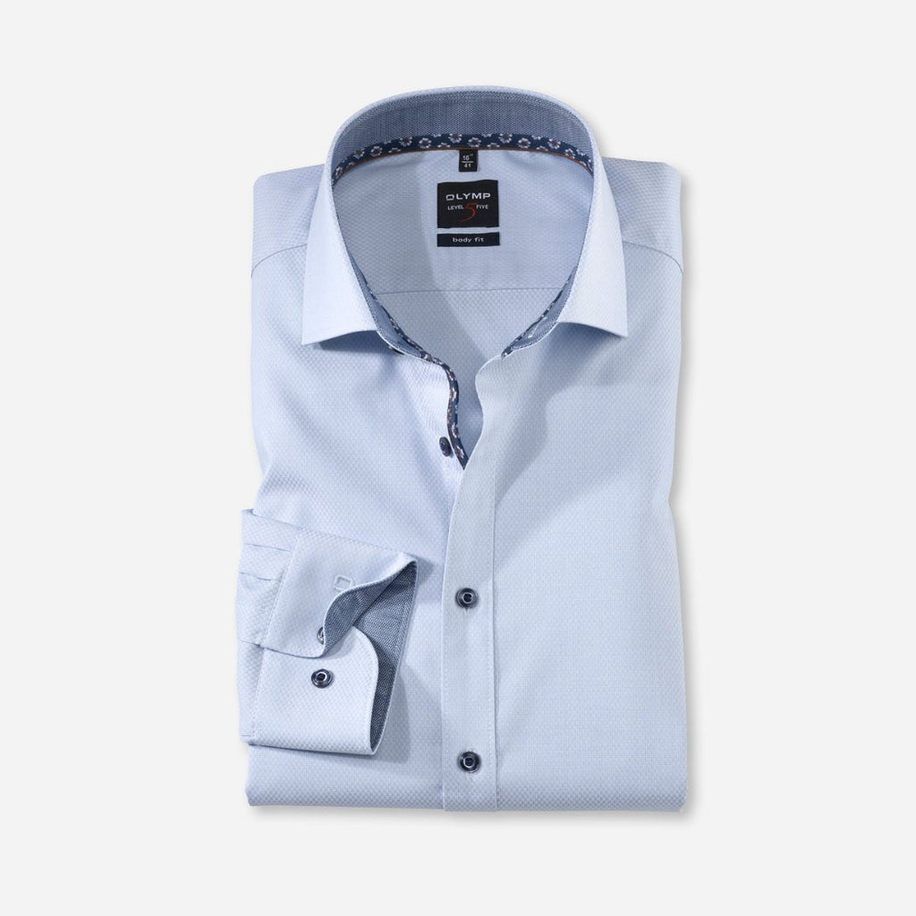 Olymp Body Fit Shirt in Blue - Bernard Owens