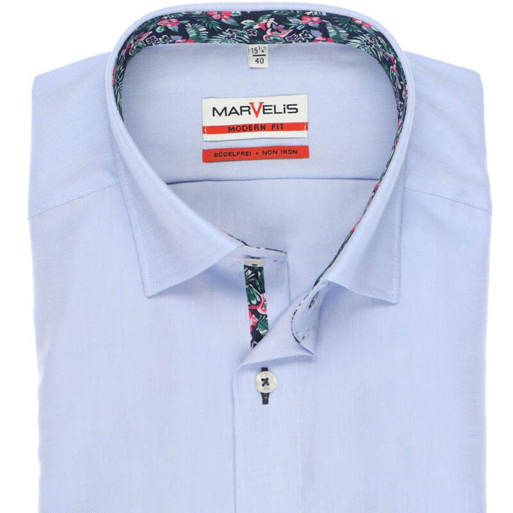 Marvelis Modern Fit Blue Oxford Shirt - Bernard Owens