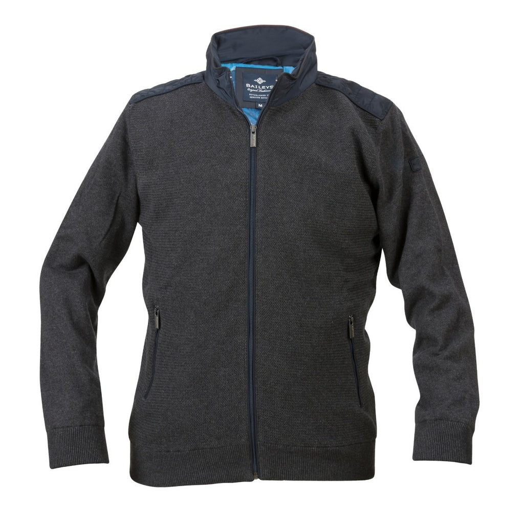 Baileys Lined Bomber Style Cardigan in Charcoal - Bernard Owens